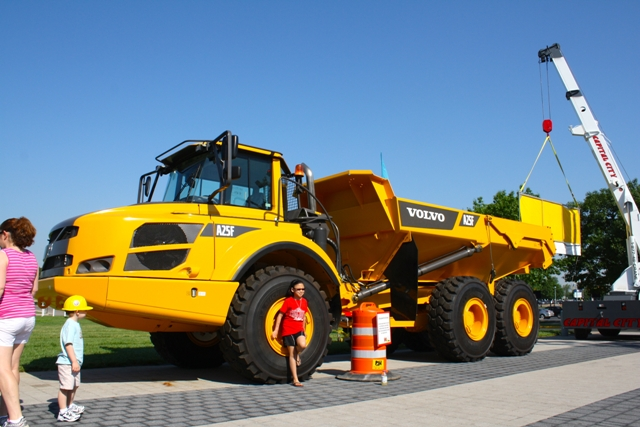 Huge Construction Equipment Takes Over COSI